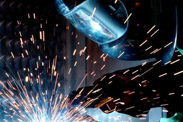 welder working with helmet