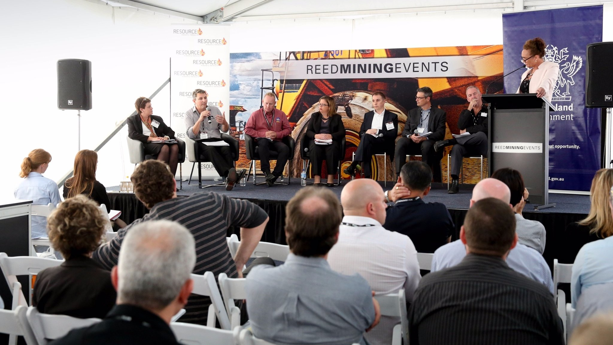 guest speakers talking at the Queensland Mining Expo