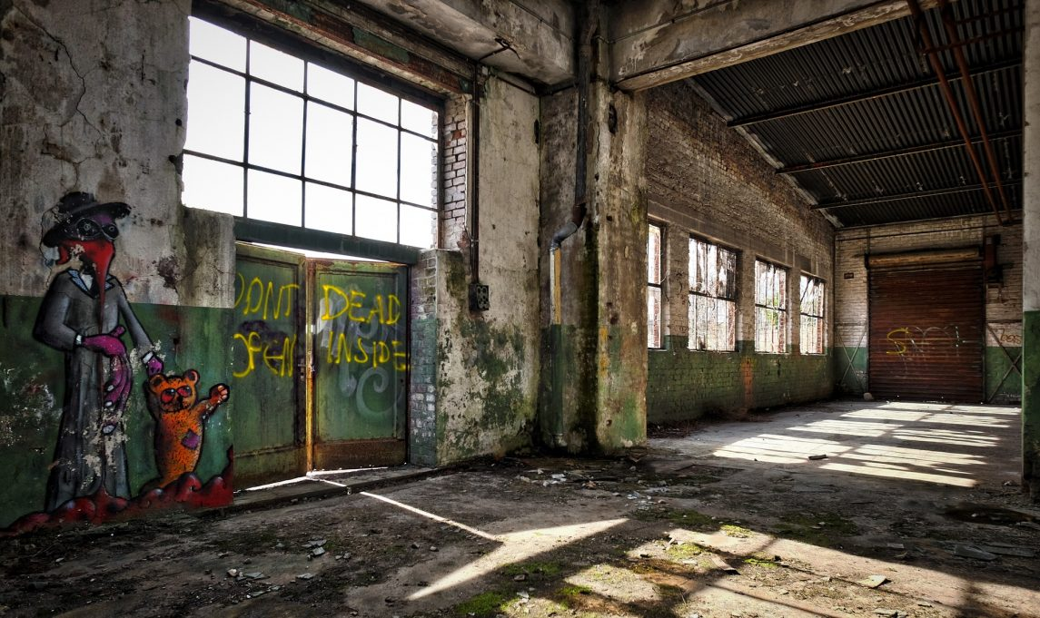 empty graffitied factory