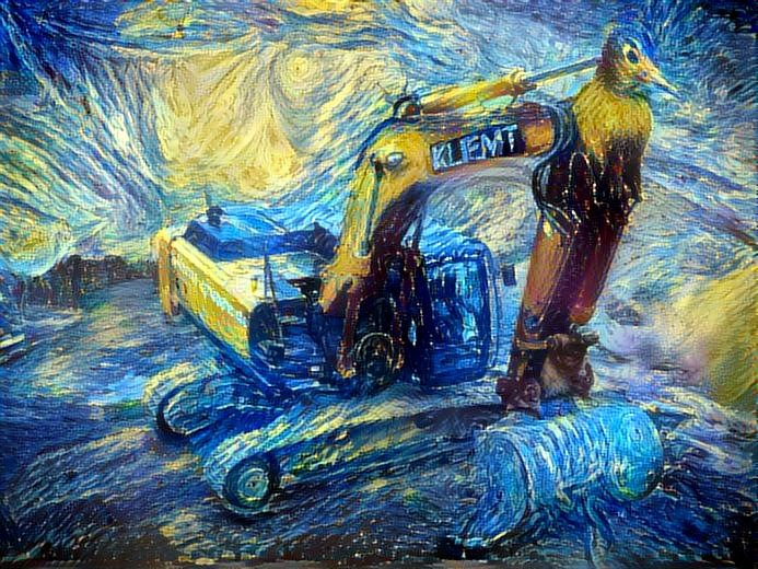 excavator run through deepdream a second time