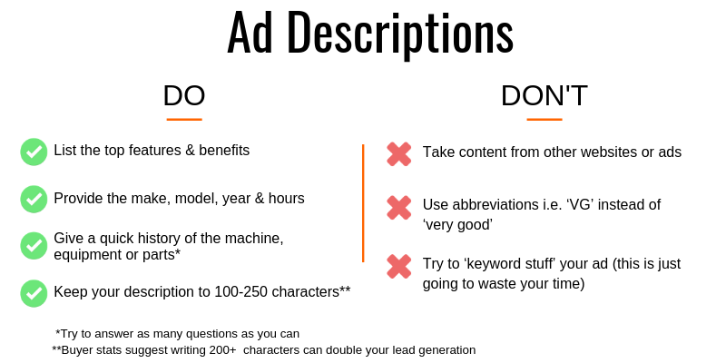 Ad Descriptions dos and donts
