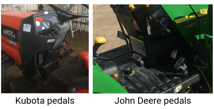 Kubota vs John Deere pedals