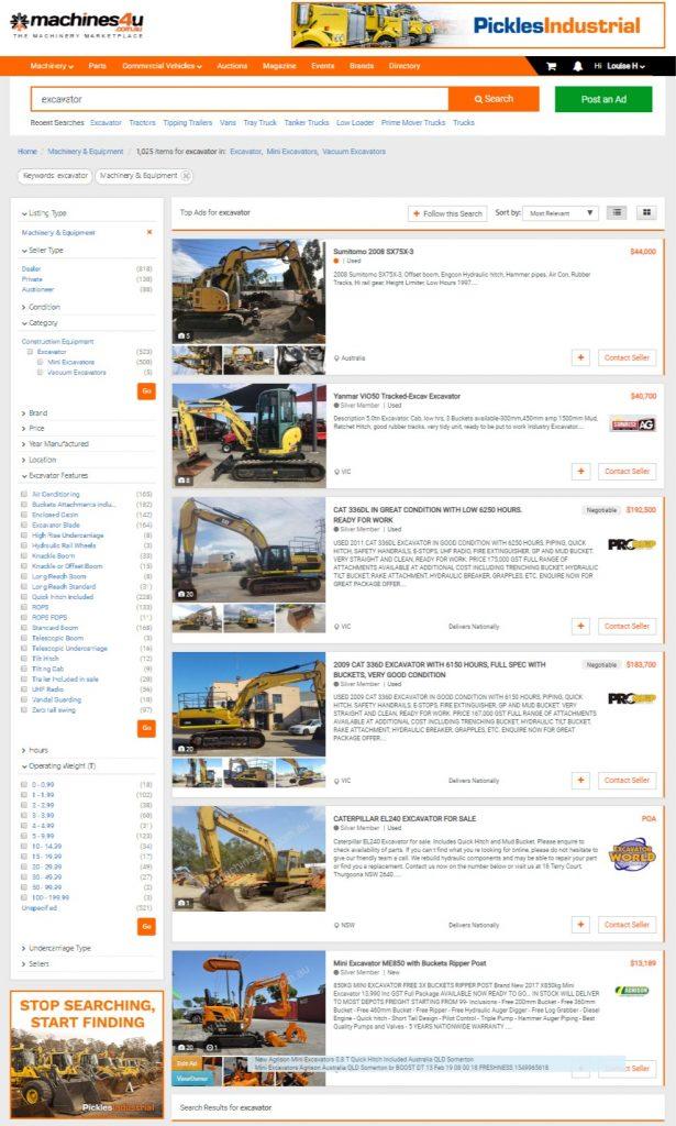 "Machines4U Excavator Ad List View ""Excavator Street"""