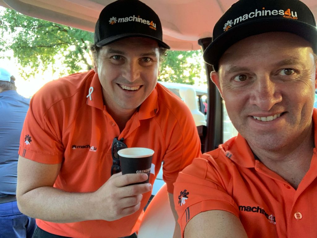 Steve and Jade from Machines4U excited for the DDT golf day 2019