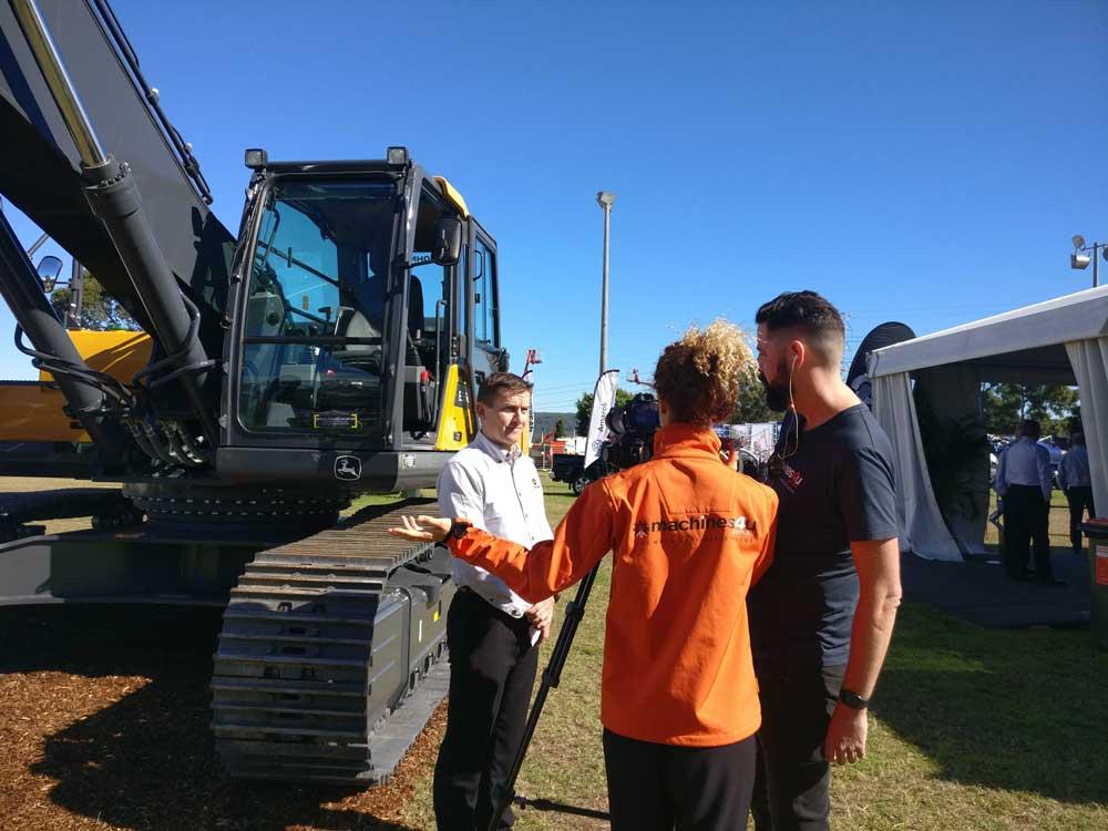 filming John Deere excavator launch